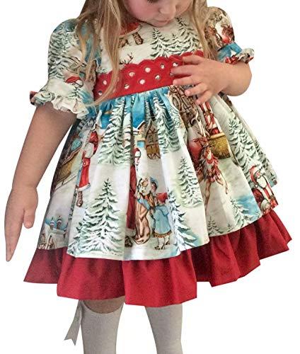 Vestido de Navidad Estampado para Niña Vestido de Navidad de Manga Corta para Niña Decorado con Nudos Grandes...