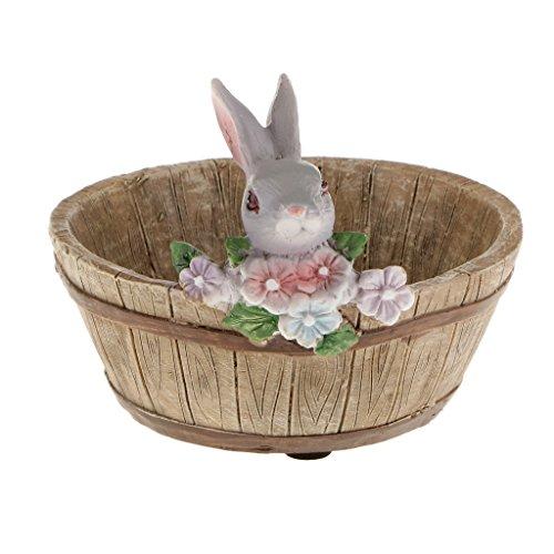 Mini Paysage de Minuature en Résine Gris Lapin Fleur Sedum Pot Succulente Lit Planteur Bonsaï Boîte De Plante