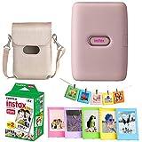 Fujifilm Instax Mini Link Smartphone Printer - (Dusty Pink) + Fujifilm Instax Mini Twin Pack Instant Film (20 Sheets) + Protective Case for Mini Link Printer - Accessory Bundle