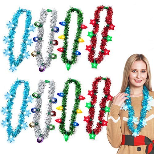 8 Pack Christmas Light up Garland Necklaces Colorful Snowflakes Stars led Necklaces Christmas Party Supplies Accessories…