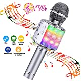 BlueFire Wireless 4 in 1 Bluetooth Karaoke Microphone with LED Lights, Portable Microphone for Kids, Best Gifts Toys for 4 6 8 10 12 Year Old Girls Boys (Silver)