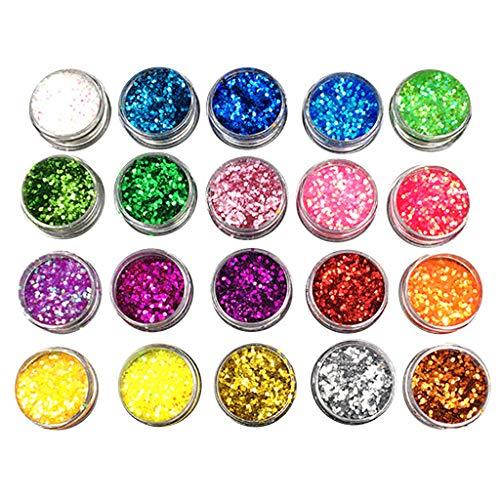 Hule 20 Stück Glitzerpuder, Puder, Epoxidharz, Farbpigmente, Glitzermischung, Grobpuder für Nagelkunst