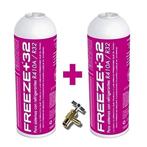 REPORSHOP - 2 Botellas Gas Refrigerante Freeze +32 350Gr + Valvula Organico Sustituto R32/R410A