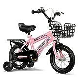 Bicicleta para NiñOs Ajustables con Ruedas De Entrenamiento Y Frenos Duales, AleacióN De Acero Al Carbono, Bicicletas para Exteriores para NiñAs Y NiñOs, FáCil De Instalar