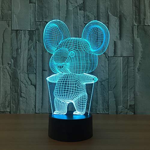 3D LED Night Light Acryl Stereo Vision lamp 7 kleuren veranderen USB slaapkamer nachtkastje bijzettafel creatief