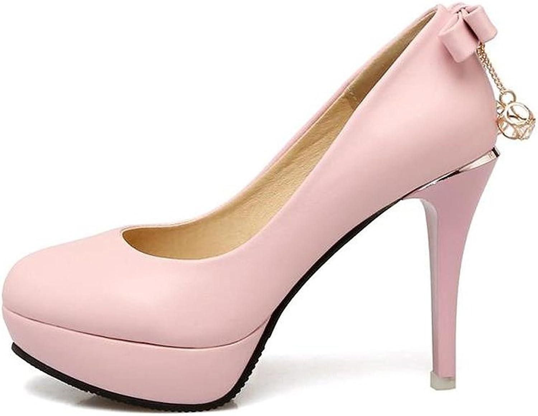 XUERUI Rhinestone Round Head Waterproof High Heels Female Fine with Size Size Female shoes (Size   EU38 UK5.5 CN38)