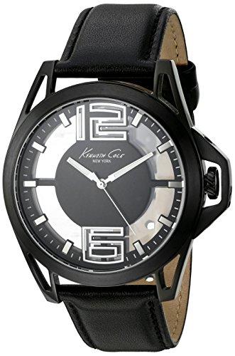 Kenneth Cole New York - Reloj de vestir para hombre de acero inoxidable y cuero negro (modelo: 10022526)