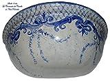 Vaso da muro Svuota-tasche da interni Linea Classica blu Realizzato e Dipinto a mano Le Ceramiche del Castello Made in Italy Pezzo Unico Dimensioni L 35,70 x H 13 cm.