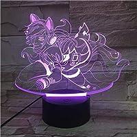 3D LED錯視ランプ ナイトライトタッチセンサー7色ナイトライトブラインドモンクテーブルランプベッドルームの変更