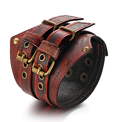 OIDEA Herren Armband Leder Armband schwarz, Breite Geflochten Lederarmband Surferarmband Armreifen, verstellbar (Verstellbar Armband) (breite braun Armband)