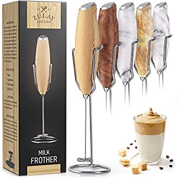 Zulay Milk Frother Handheld Foam Maker With Upgraded Holster Stand - Powerful Coffee Frother Electric Handheld Mixer - Battery Operated Frother For Coffee with Stainless Steel Electric Whisk  Maple