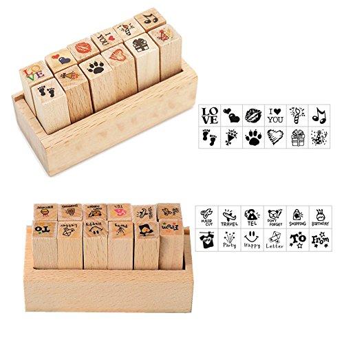 SwirlColor Rubber Stamp Bois Set 24 Kinds Corée du Bricolage boisé Rubber Stamp Diary Stamp Set avec la boîte
