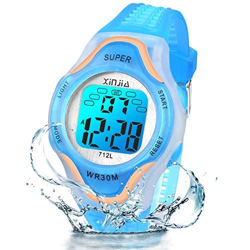 Kinder Digitaluhren, 7 Farben LED-Licht Kinder Sport Armbanduhr Jungen Wasserdicht Kinderuhr mit Alarm Stoppuhr, Kinderuhren Outdoor Armbanduhr für Jungen Mädchen (712L Roségold Blau)