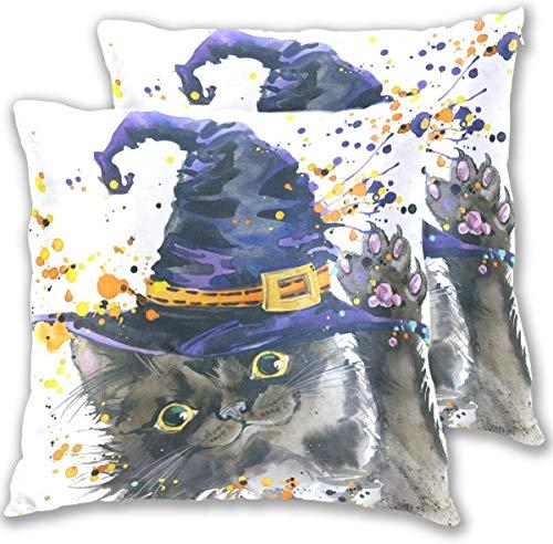 Keyboard cover Butlerame, 2 federe per cuscino per Halloween, per feste, Halloween, strega, gatto, acquerello, 18 x 18 cm