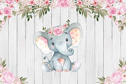 Pink Calf Elephant Backdrop 7x5ft Garland Flowers Baby Shower Kids Birthday Gender Reveal Party Decoration Wooden Plank Background for Photography Photo Studio Props Vinyl