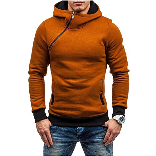 ZHOUJEE Men's Personality Zipper Plus Fleece Hooded Sweater Fashion Casual Hoodie Multi-Color Easy-to-fit Color Pullover