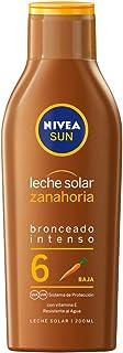 NIVEA SUN Leche Solar Zanahoria FP 6 (1 x 200 ml), protección solar para un bronceado bonito y duradero, protector solar hidratante resistente al agua
