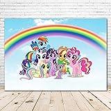 Birthday BackdropMy Little Pony 7x5ft Blue Skyline with Cartoon Rainbow Background for Photo Studio Baby Girls Birthday Banner 1st Boy Backgrounds