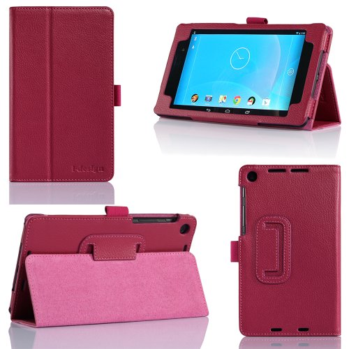 i-design Nexus 7 FHD Premium Leather Case with Flip Stand, Stylus Loop and Wake/Sleep Function (Nexus 7 FHD (2013), Magenta)