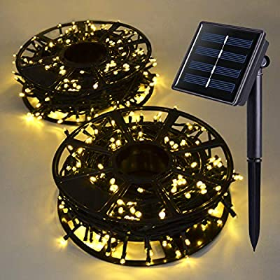 JMEXSUSS Solar String Light 600LED 206.7ft 8 Modes Solar Christmas Lights Waterproof Outdoor Fairy String Lights for Gardens, Homes, Wedding, Party, Christmas Tree,Xams,Outdoors (600-Warm White)