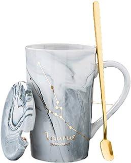 Marble Coffee Cups, Grey Ceramic Elegant Mugs, with Gift Box Men Women Romantic Creative Festival Day Birthday Gifts (400M...