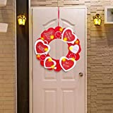 oufenli Valentine's Day LED light Heart Wreath Door Wall Hanger - Front Door Decorations Garland with Red Bow, Valentines Day Decor Indoor Home Outdoor Party (Red)