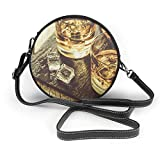 Bolso redondo mujer Shoulder Bags Women Round Bags Whiskey with Ice in Glasses, Rustic Wood Background, Copy Space Crossbody Leather Circle Bag