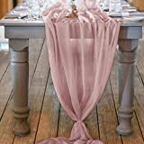 """Material: 100% Polyester. *Size:29"""" W x 122"""" L. *This soft chiffon table runner is perfect for wedding party,bridal & baby shower,holiday party,birthday party,christmas party,ceremony and other special events. *The flowing sheer wedding runner is ava..."""