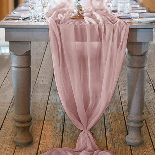 Mixsuperstore Dusty Rose 10Ft Chiffon Table Runner 29x122 Inches Romantic Wedding Runner Sheer Bridal Party Decorations