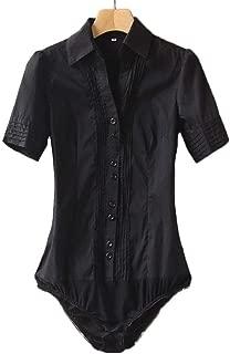 Women Short Sleeve Button Down Career Shirt Bodysuit Blouse