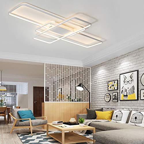 Lámpara de salón moderna LED Regulable Lámpara de techo Rectangular Con mando...