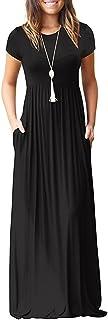 Viishow Women's Short Sleeve Loose Plain Maxi Dresses...