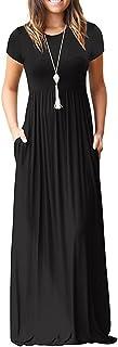 Women's Short Sleeve Empire Waist Maxi Dresses Long Dresses with Pockets