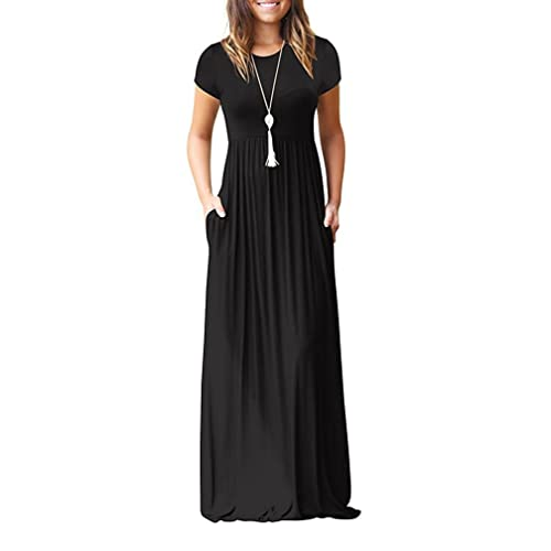 8432f44ab057 Viishow Women's Short Sleeve Loose Plain Maxi Dresses Casual Long Dresses  with Pockets