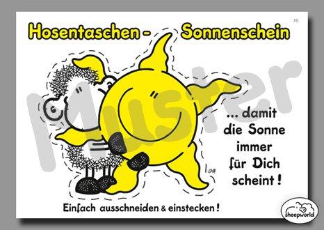 75 – Postkarte – Hosentaschen-Sonnenschein - Postkarte von Sheepworld