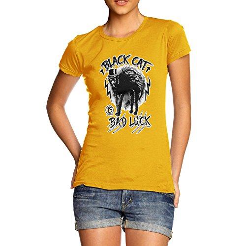 Damen Premium Baumwolle Funny Aberglaube Schwarz Katze Bad Luck Print T-Shirt Gr. X-Large, Gelb