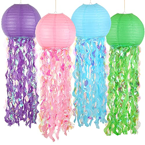 LEMESO 12 Inch 4 Pack Jelly Fish Paper Lanterns Pink/Blue/Purple/Green Hanging Mermaid Wishes Lantern, Great for Kids Birthday Decors, Baby Shower Party Decors