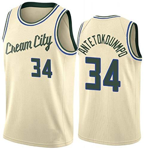 WSWZ Camiseta De La NBA para Hombre, Milwaukee Bucks 34# Giannis Antetokounmpo Camiseta De Baloncesto Camiseta Deportiva De La NBA Camiseta Cómoda Swingman,B,XXL(185~190CM/95~110KG)
