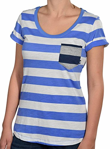 Nike Women's Striped Casual Shirt with Pocket-Periwinkle/White-Medium