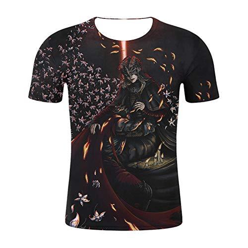MWMMWLH T-Shirt,Unisex Anime 3D Dark Souls Stampato Estate Uomo Top Casual Manica Corta Magliette MaglietteColor Mixing 3XL