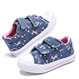 nerteo Toddler Girl Shoes Slip On Sneakers Kids Canvas Shoes for Walking,Play Blue Jean/Unicorn 6 M US Toddler