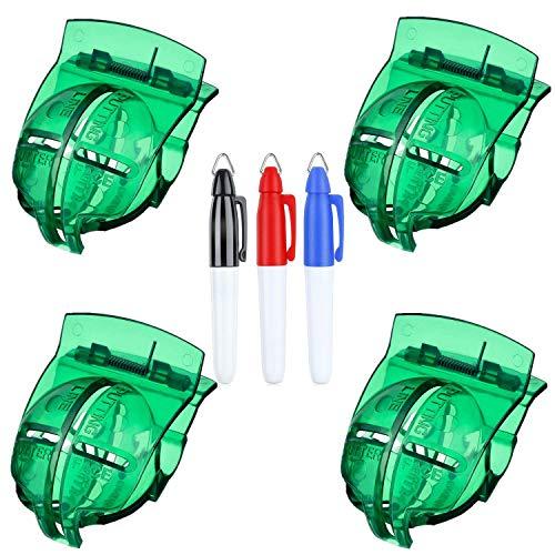 FINGER TEN Golf Ball Line Marker Tool Valor de Plantilla Paquete de 4 con bolígrafos de 3 Colores Marcadores de Bola Clip de alineación de Putt de Plantilla
