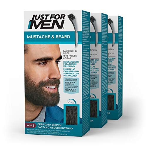 Just For Men Mustache & Beard, Beard Coloring for Gray Hair with Brush Included - Color: Deep Dark Brown, M-46 (Pack of 3)