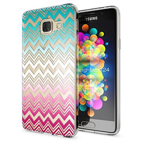 NALIA Custodia compatibile con Samsung Galaxy A3 2016, Protezione Silicone Cover Trasparente Sottile Case, Gomma Morbido Cellulare Ultra-Slim Protettiva Bumper Guscio, Designs:Colorful Lines