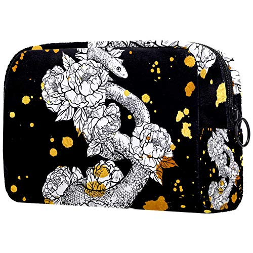 KAMEARI Bolsa de cosméticos Flores de serpiente Organizador de bolsas de viaje multifuncionales
