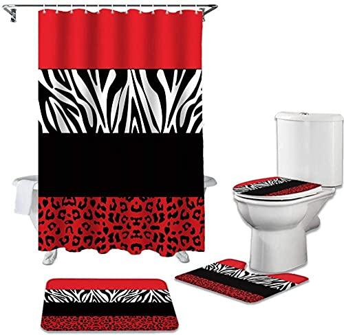 BGVDF 4-Teilige Duschvorhang-Sets Mit Rutschfesten Teppichen, Toilettendeckelabdeckung Und Badematte, Und 12 Haken, Wasserdichter Duschvorhang,Roter Zebra-Leoparden-Druck