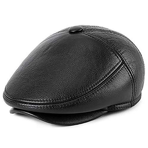 SPARKX Cappellino da Uomo in Pelle di Cuoio da Uomo in Vera Pelle di Vacchetta da Uomo Berretto da Caccia,Nero,59cm