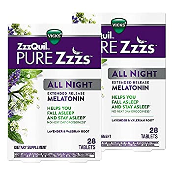 ZzzQuil PURE Zzzs All Night Extended Release Melatonin Sleep Aid Supplement with Lavender & Valerian Root Sleeping Pills for Adult Drug-Free 28 Tablets  Pack of 2