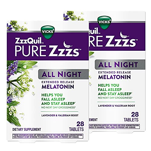 ZzzQuil PURE Zzzs, All Night Extended Release, Melatonin Sleep Aid...