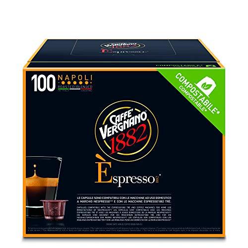 Caffè Vergnano 1882 Èspresso Capsule Caffè Compatibili Nespresso Compostabili, Napoli - Pack da 100 Capsule